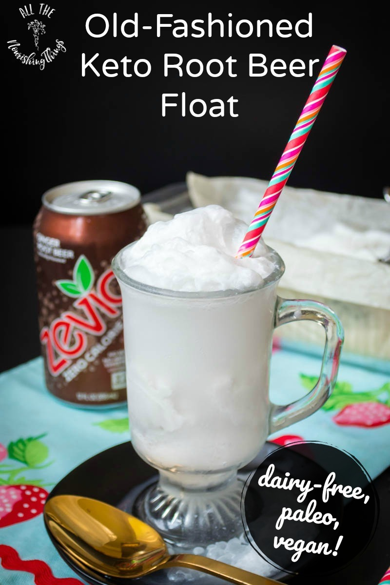 old-fashioned keto root beer float with pink straw and text overlay