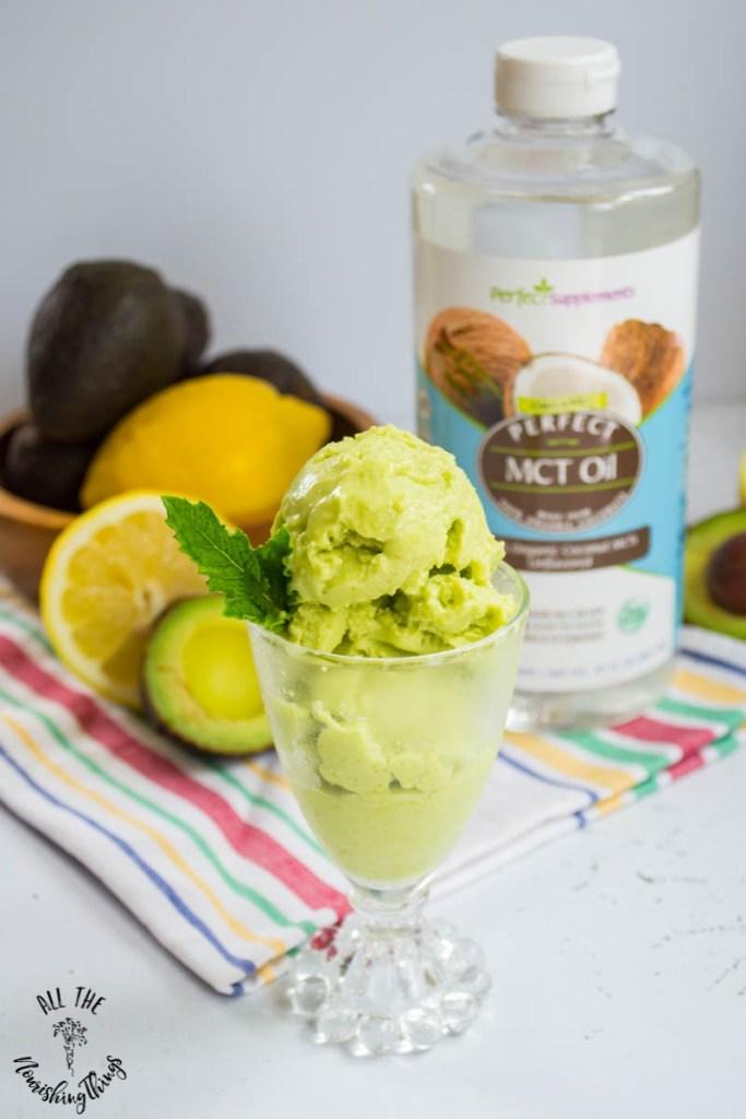 Keto Avocado Lemon Ice Cream With MCT Oil (dairy-free, egg-free, nut-free)