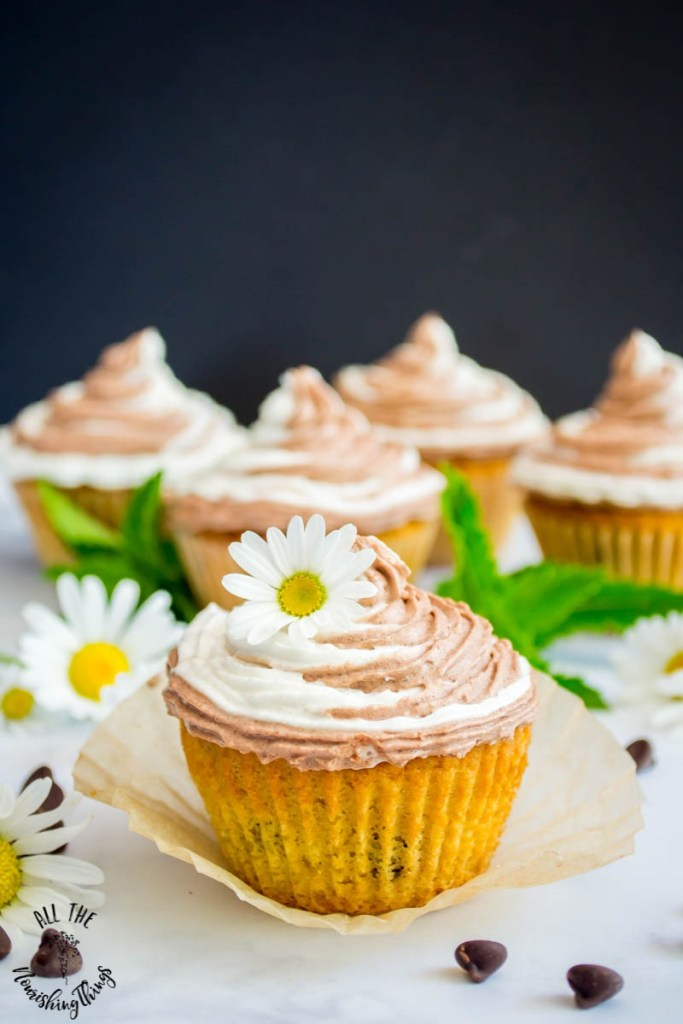 Keto Chocolate Chip Cupcakes with Chocolate-Vanilla Swirl Frosting (paleo, THM:S)