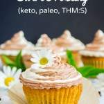 keto chocolate chip cupcakes with text overlay
