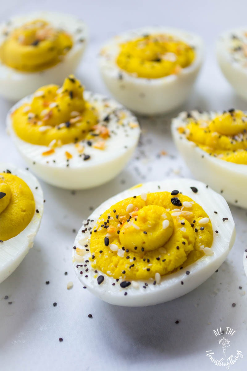 close-up of keto whole30 everything seasoning deviled eggs