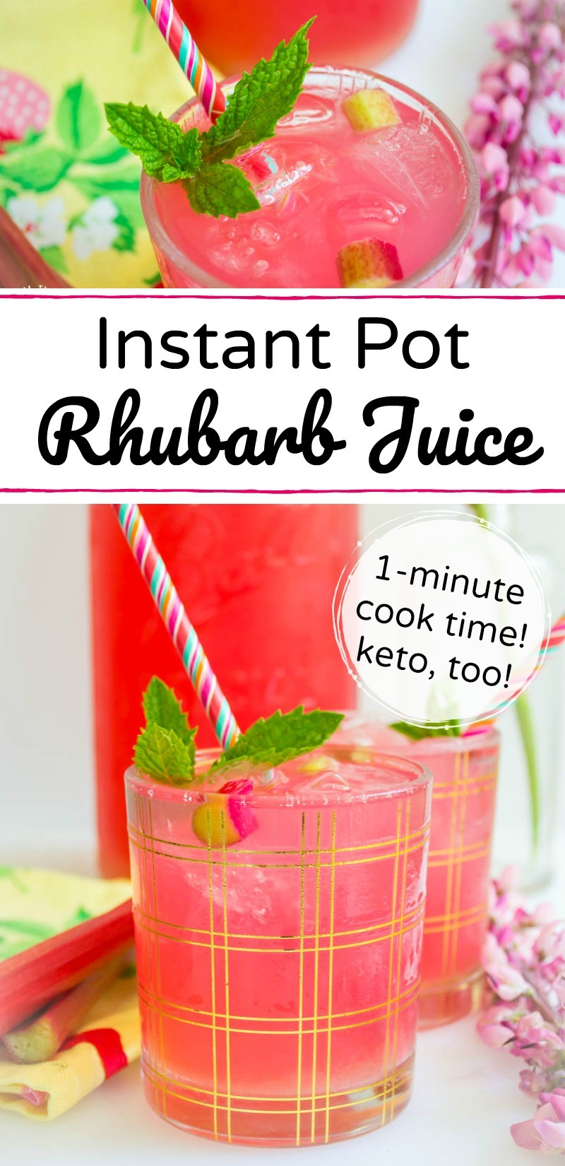 instant pot rhubarb juice with text overlay