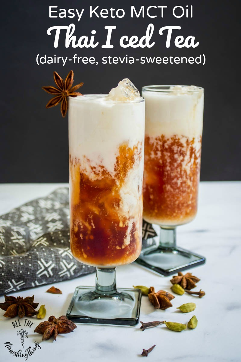 keto mct oil thai iced tea with text overlay