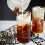 white pitcher pouring cream into keto thai iced tea