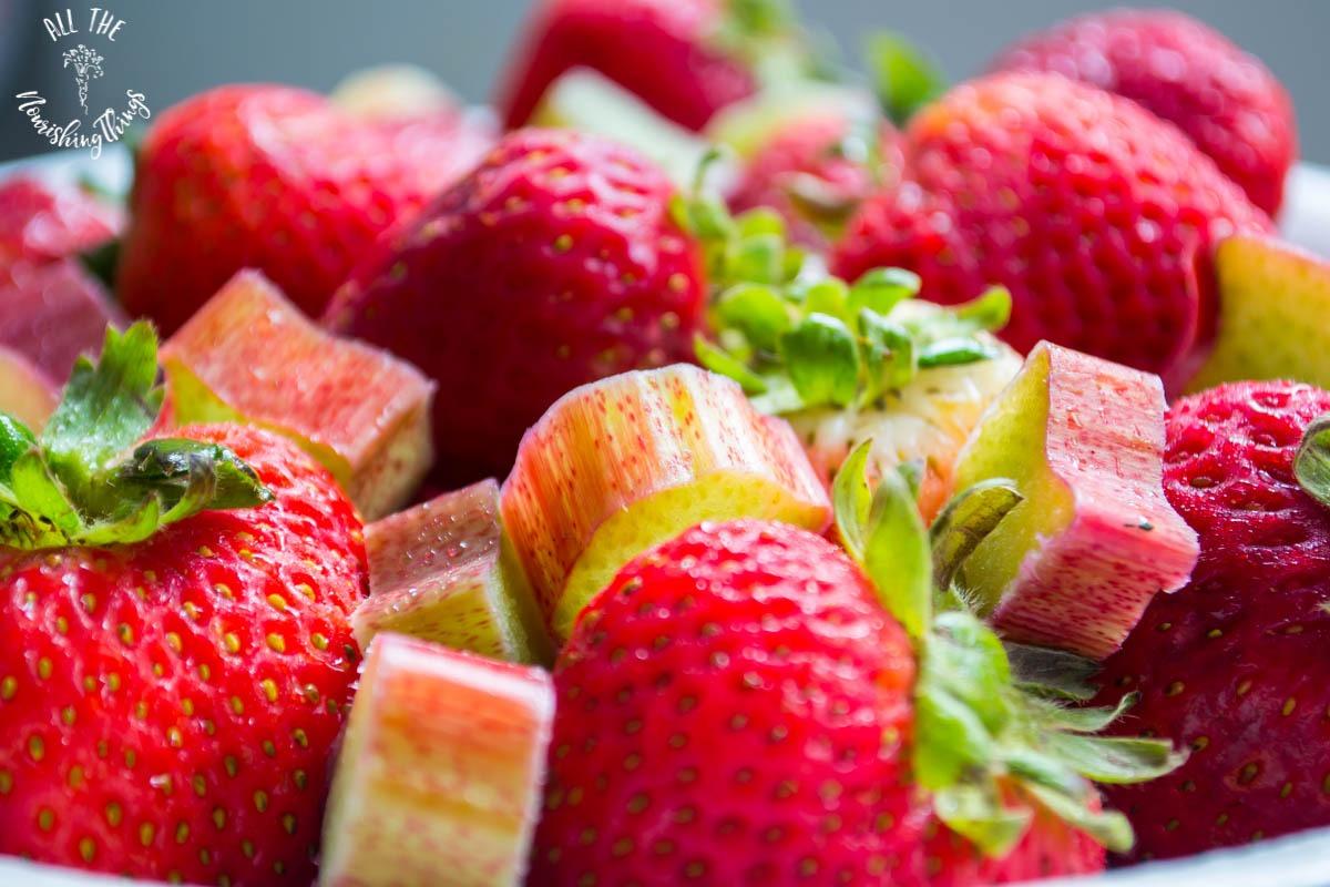 closeup of strawberries and rhubarb