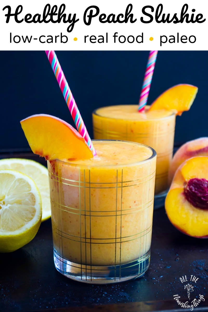 healthy low-carb peach slushie with text overlay