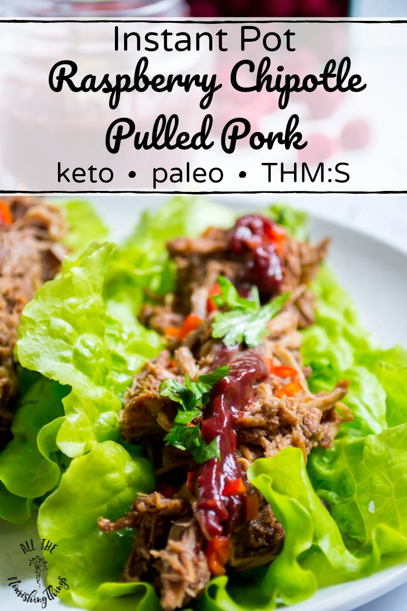 keto instant pot raspberry chipotle pulled pork with text overlay