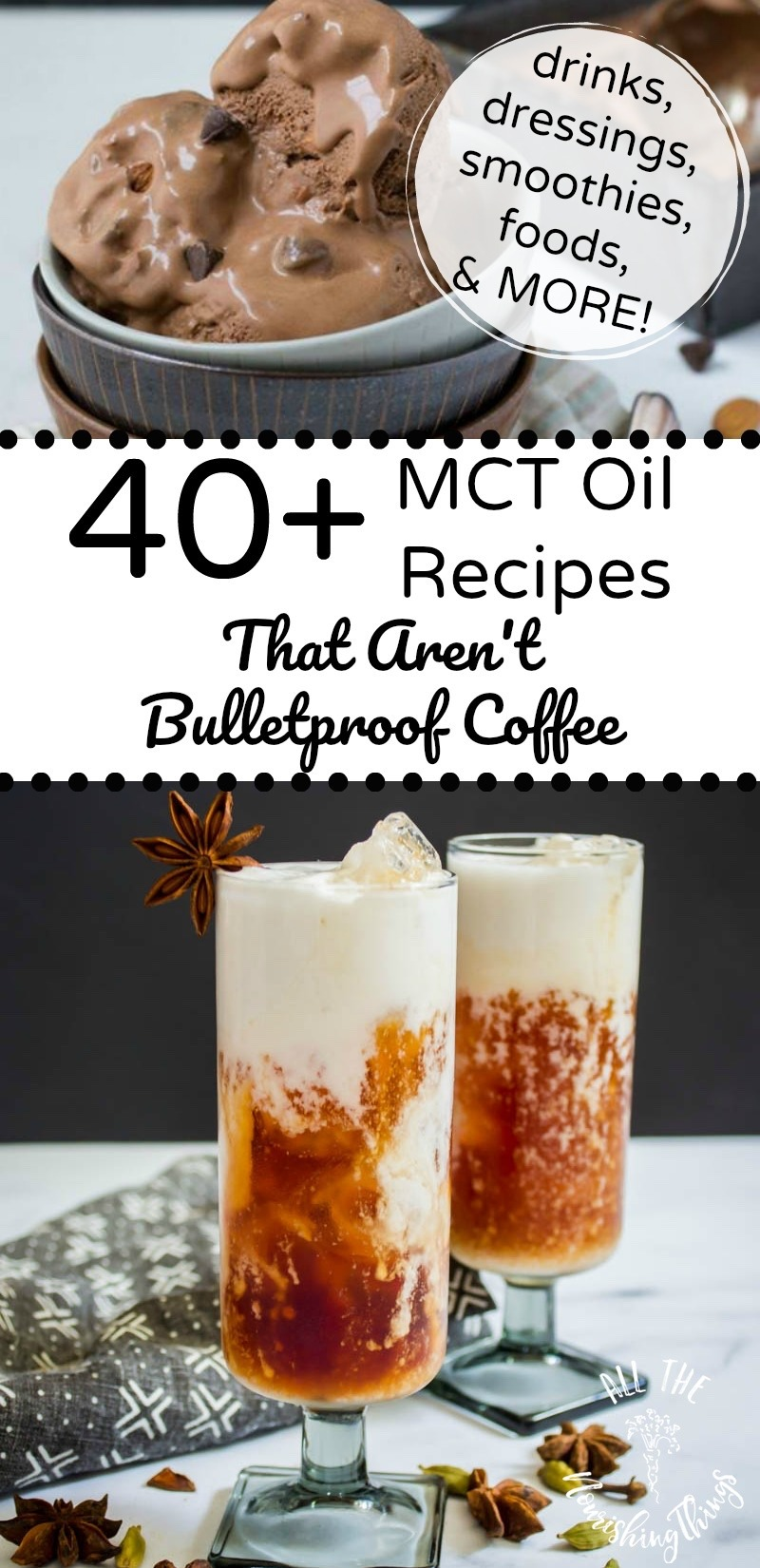 keto thai iced tea and ice cream with mct oil and text overlay