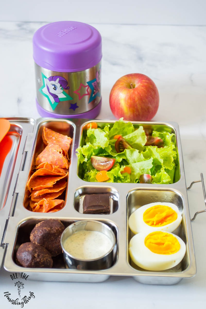 planetbox lunch with salad and eggs and pepperoni