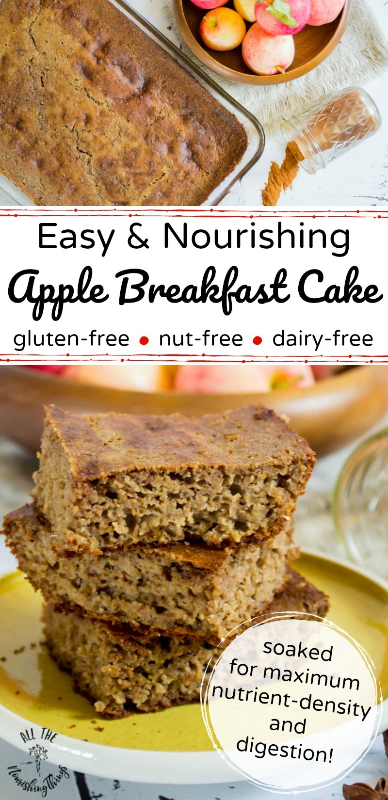 nourishing soaked apple breakfast cake with text overlay