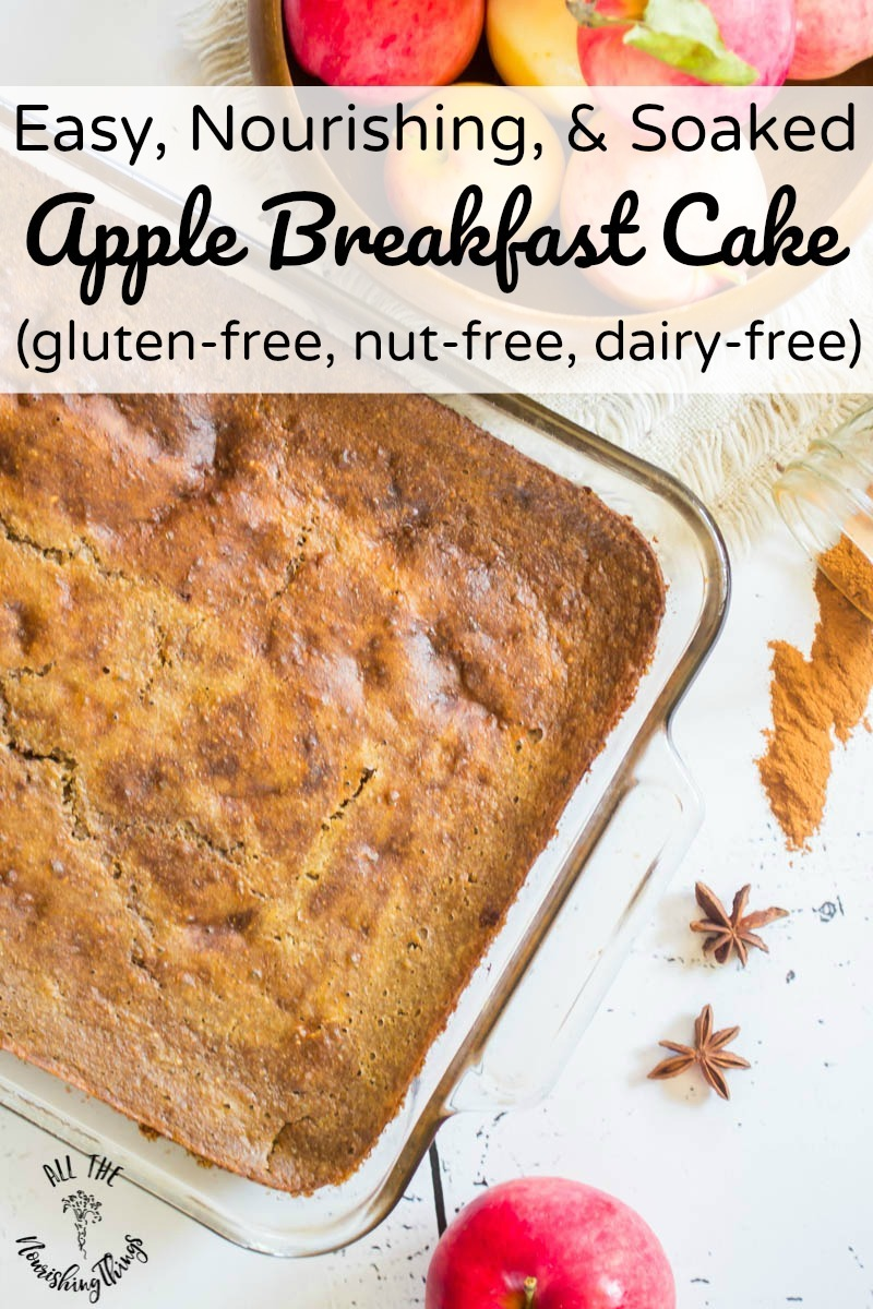 apple breakfast cake in glass pan with text overlay