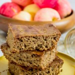 stacked slices of nourishing gluten-free soaked apple breakfast cake