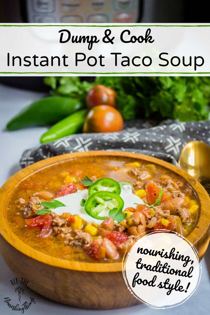 dump and cook instant pot taco soup in wooden bowl with text overlay