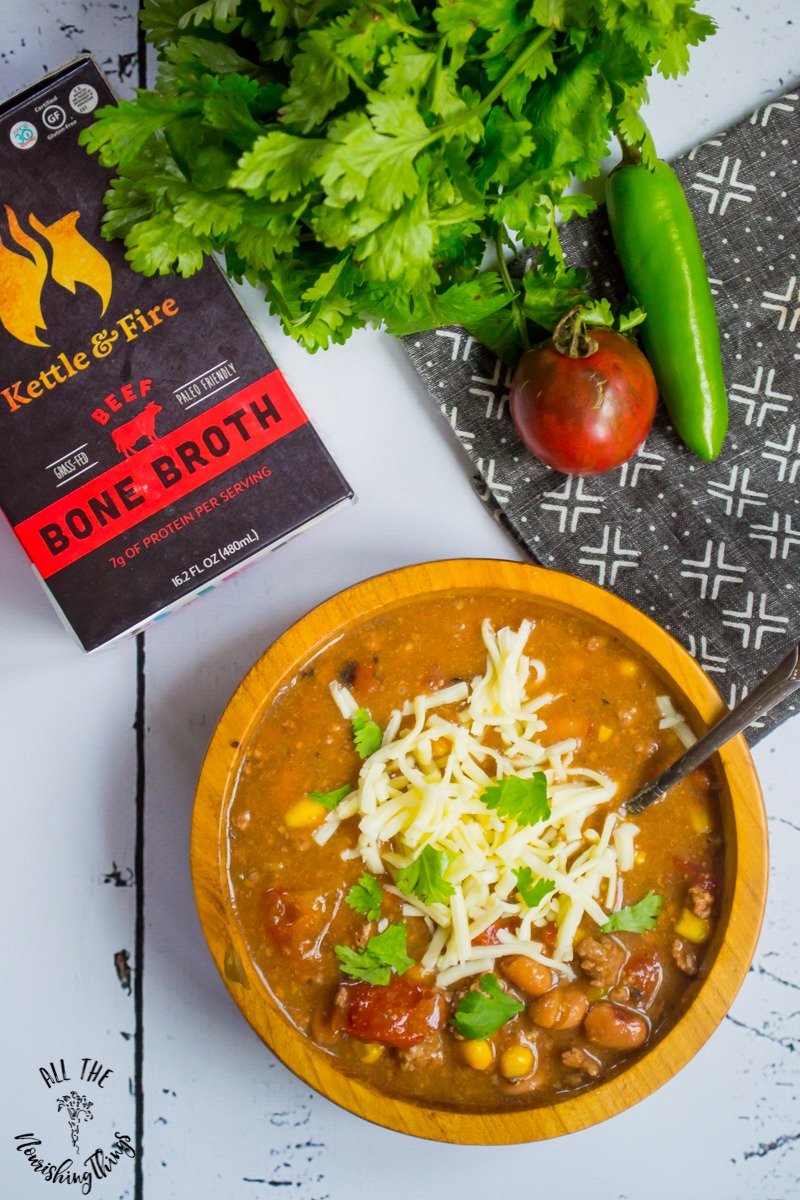 dump and cook instant pot taco soup with kettle and fire beef bone broth