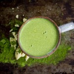 mug of bright green matcha moringa white hot cocoa