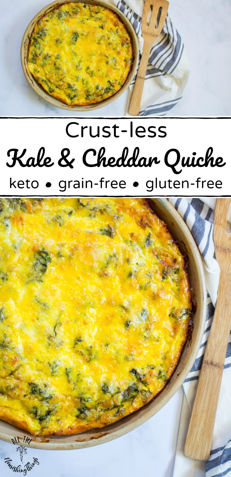 keto crust-less kale and cheddar quiche with wooden spatula