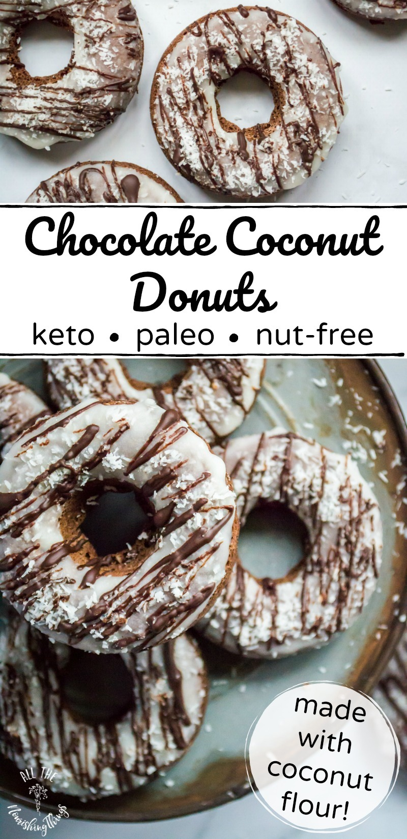 keto chocolate coconut donuts with text overlay