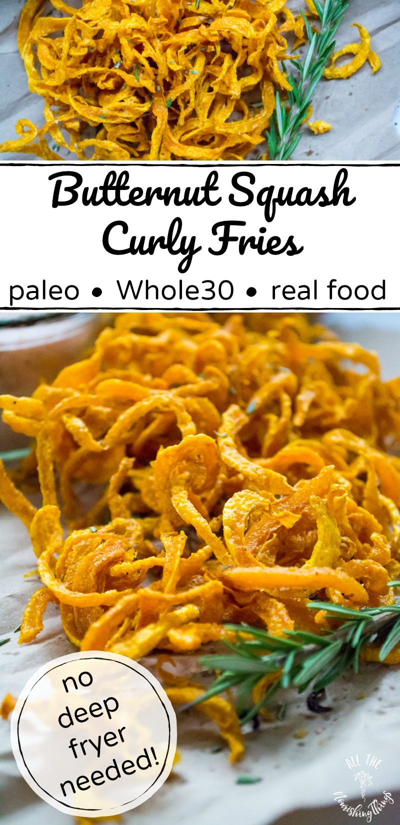 long pin of paleo butternut squash curly fries with black text overlay