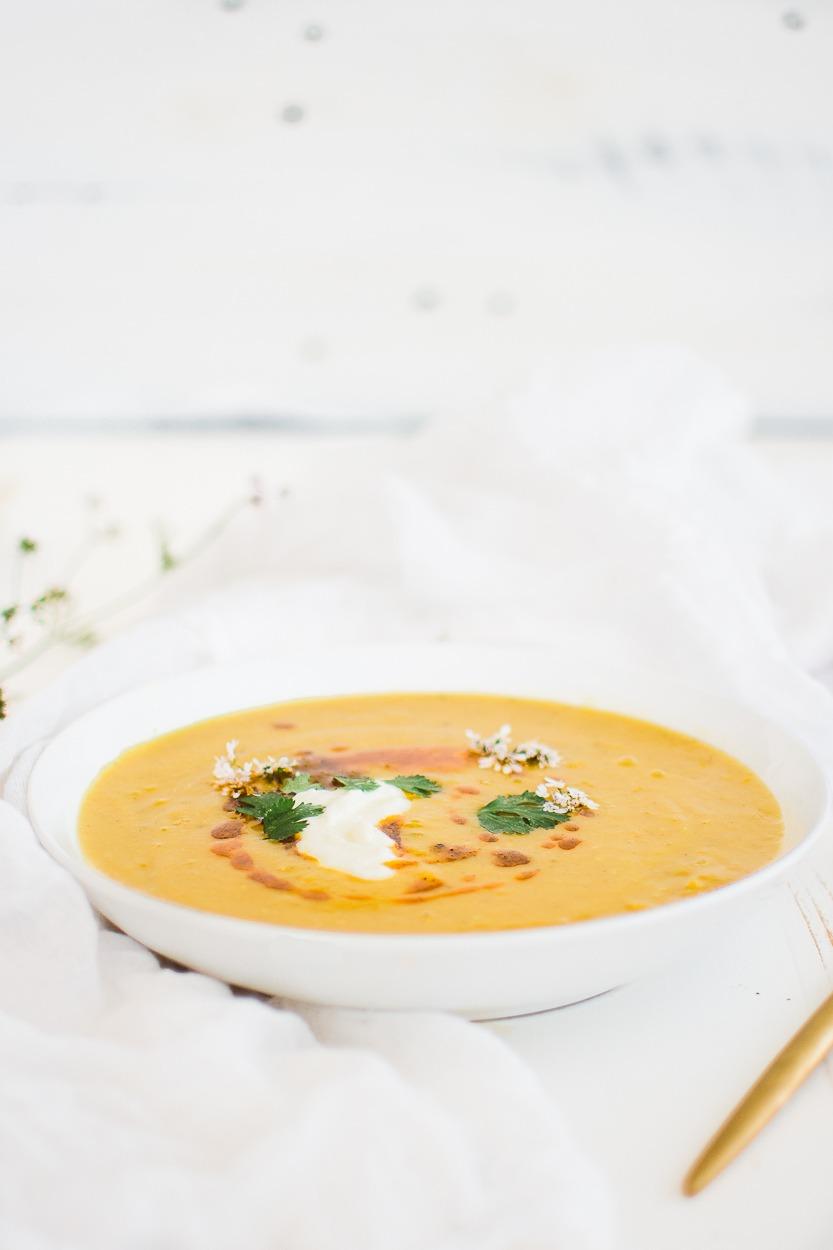 instant pot chana dal soup in white bowl