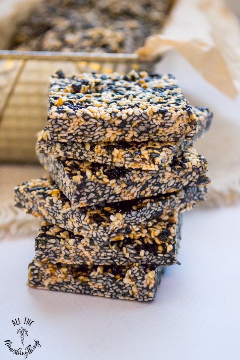 stack of 6 squares of paleo sesame ginger candy