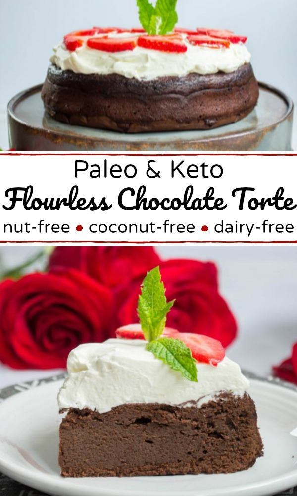 collage image of keto flourless chocolate torte with red roses and text overlay