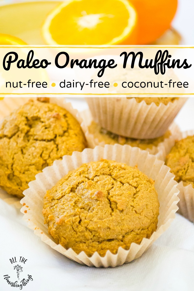 paleo orange muffins in parchment liners with text overlay