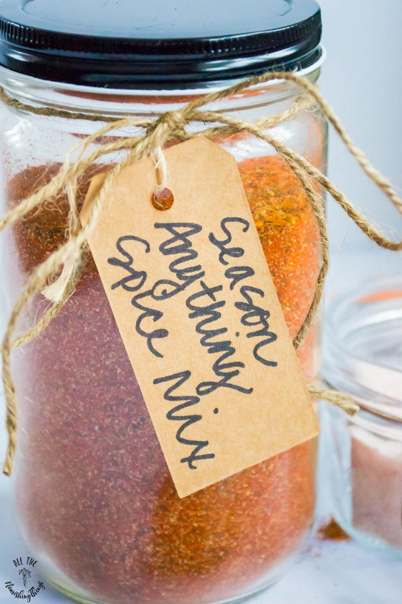 jar of season anything spice mix with brown gift tag