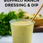 jar of avocado oil buffalo ranch dressing with gold spoon
