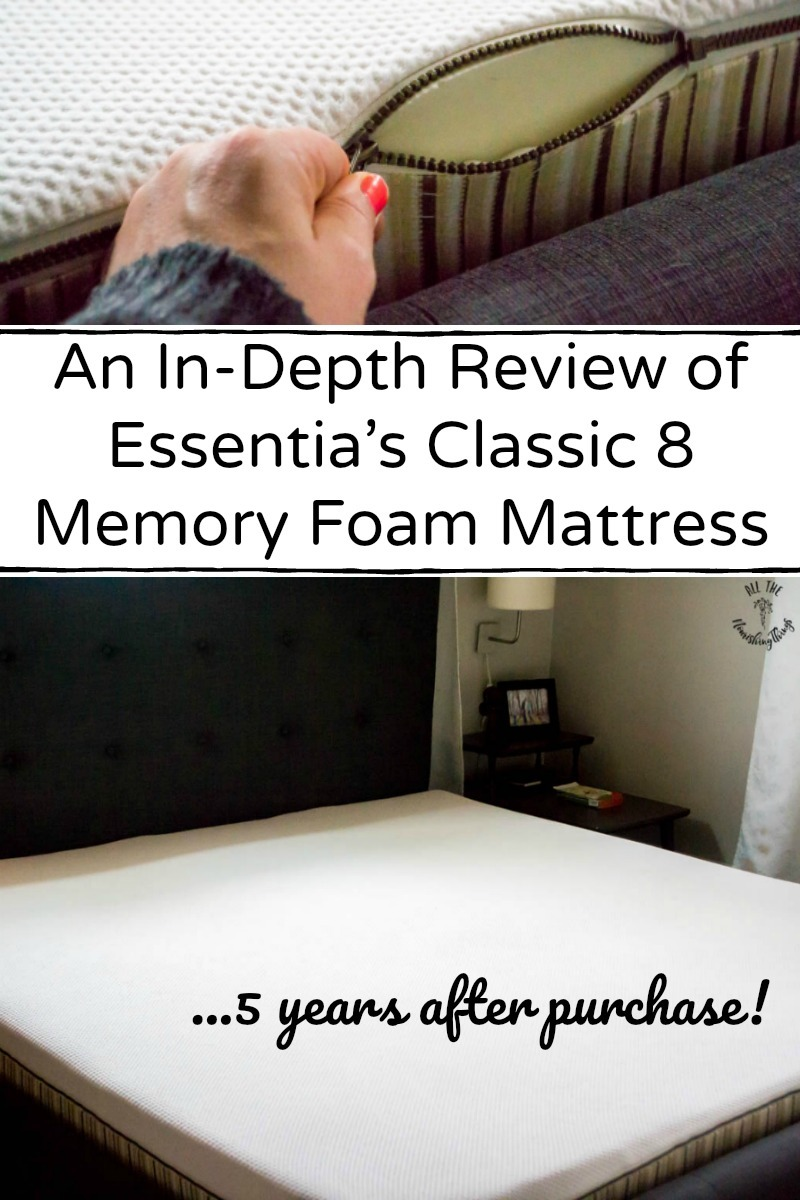 in-depth review of essentia's classic8 organic memory foam mattress with text overlay