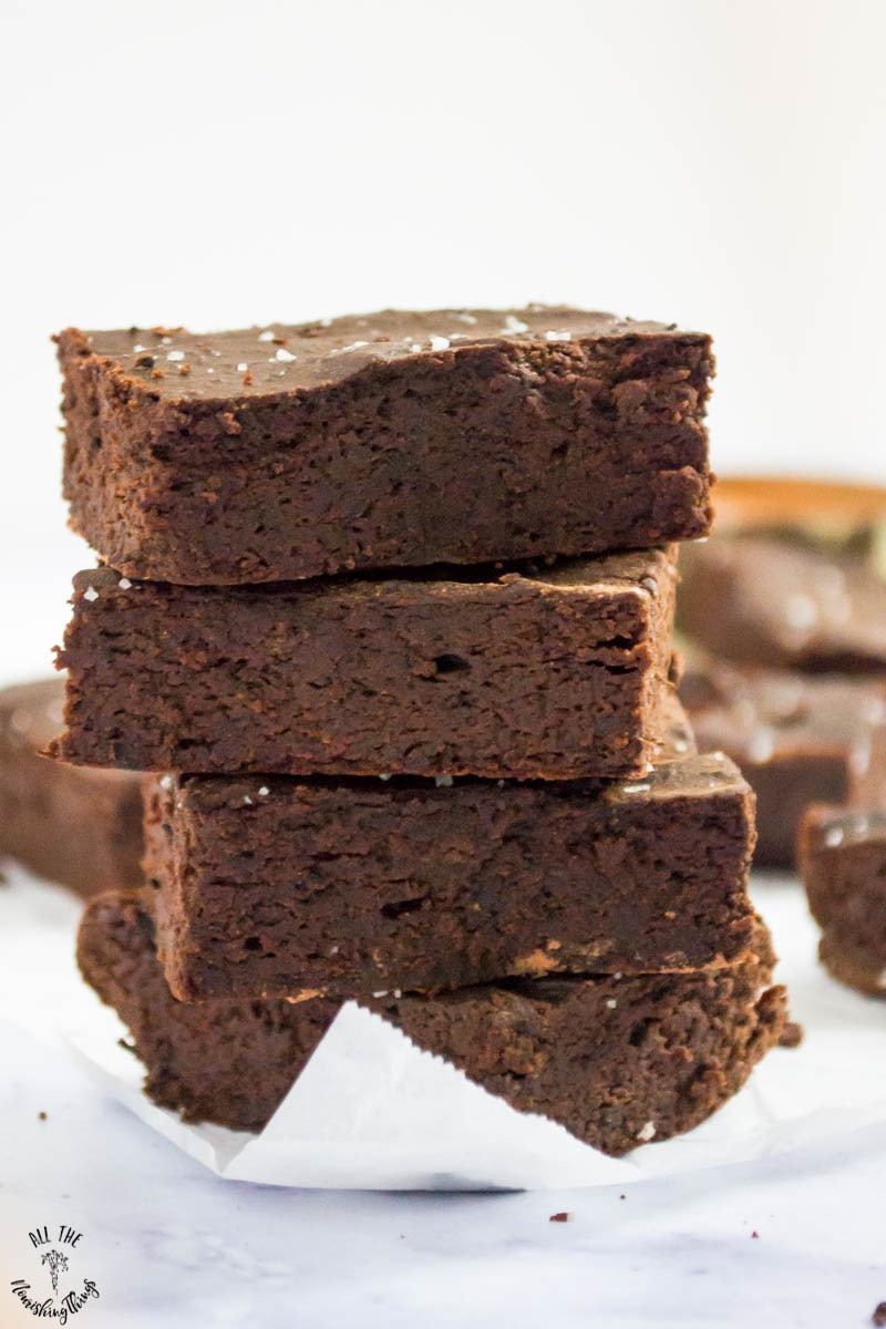 stack of grain-free nut-free salted caramel mocha brownies