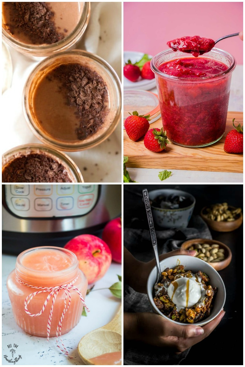 collage of 4 images of instant pot real food snacks and desserts