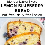collage of 2 images of keto lemon blueberry bread with text overlay between images