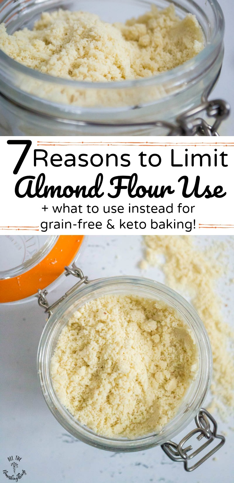 collage of 2 images of jar of almond flour with text overlay for reasons to limit almond flour use