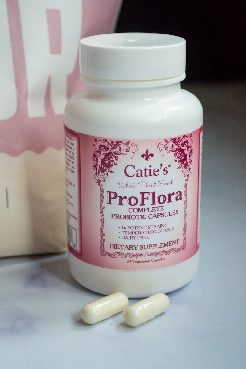 bottle of catie's whole food proflora probiotic as ways to support gut health while taking anti-anxiety medication