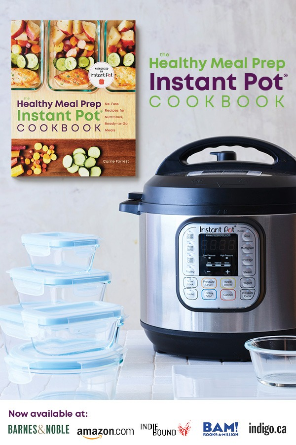 healthy meal prep instant pot cookbook with instant pot and meal storage containers