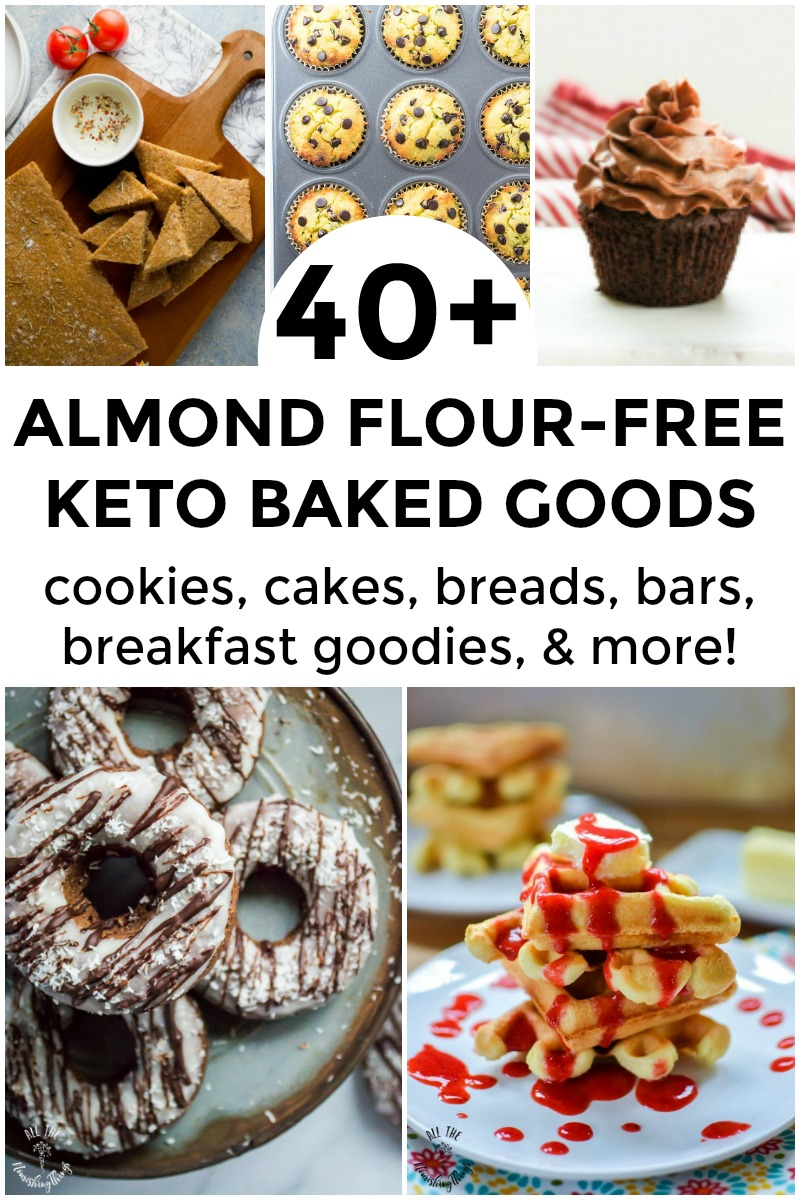 collage of almond flour-free keto baked goods including donuts, crackers, muffins, cupcakes, and waffles
