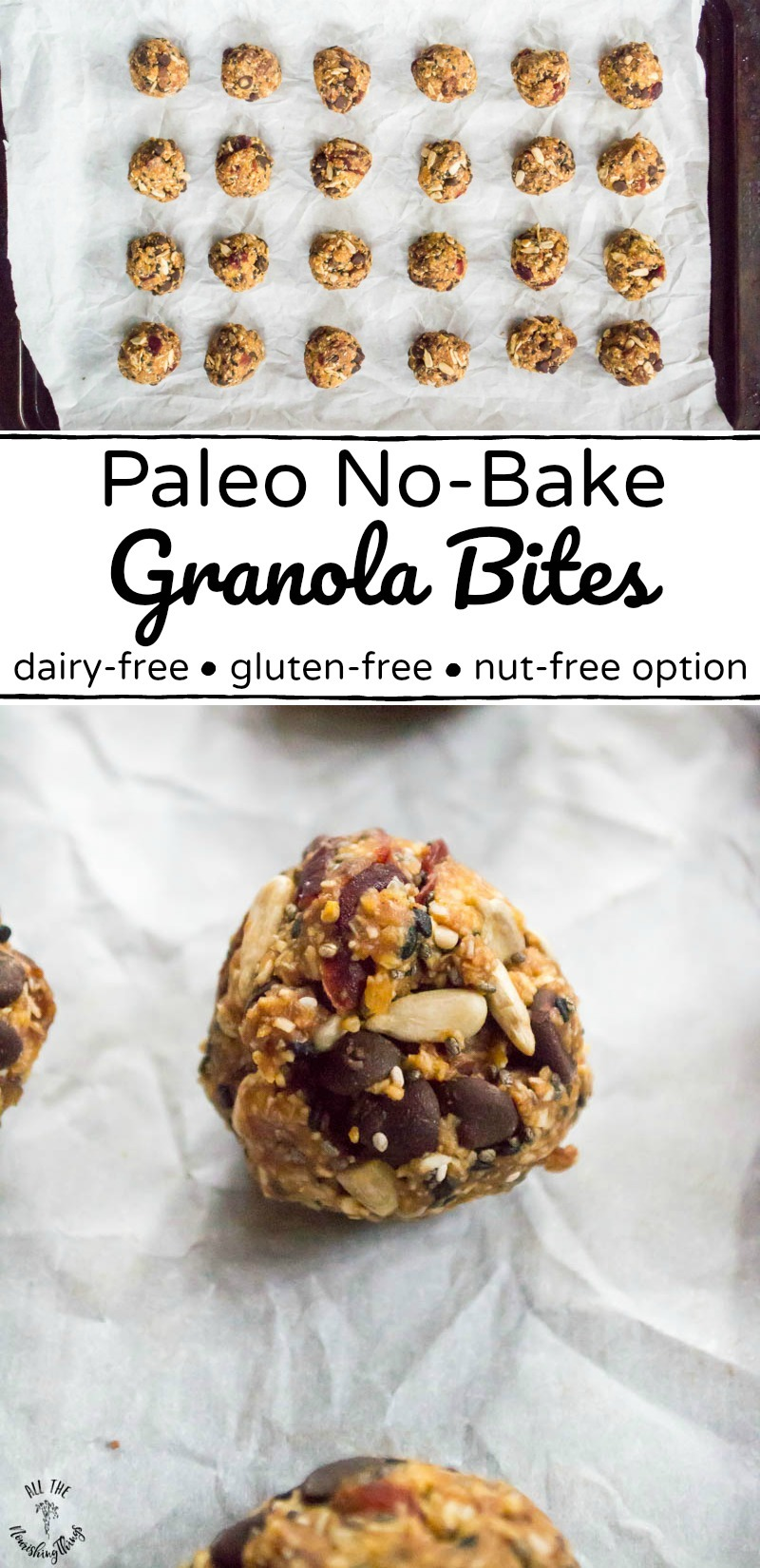 paleo no-bake granola bites on parchment paper with text overlay