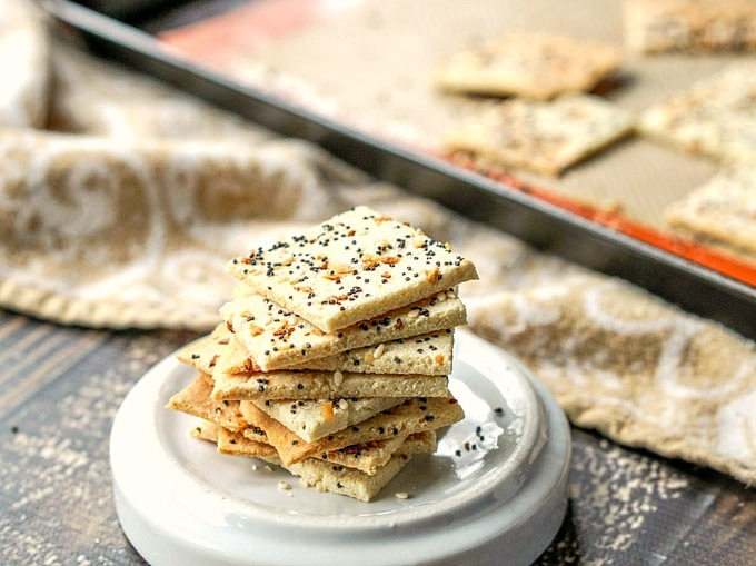 stack of low-carb everything but the bagel seasoning crackers