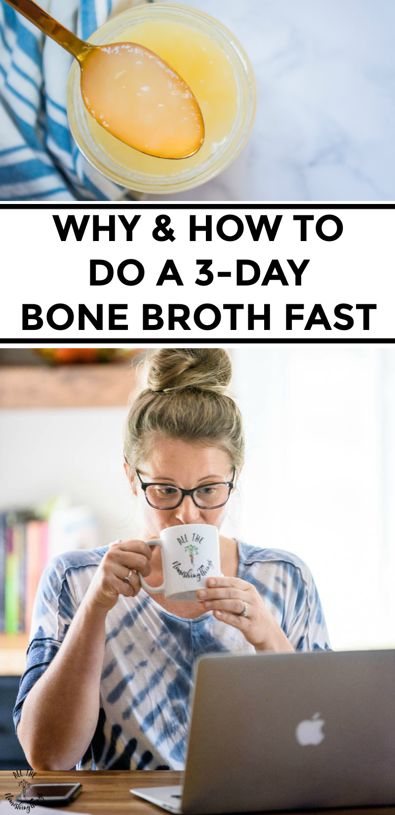 collage of images of bone broth and lindsey lockett drinking bone broth