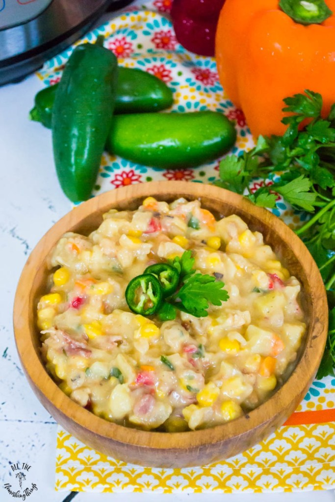 Dairy-Free Instant Pot Bacon Jalapeño Corn Chowder (with vegan option!)