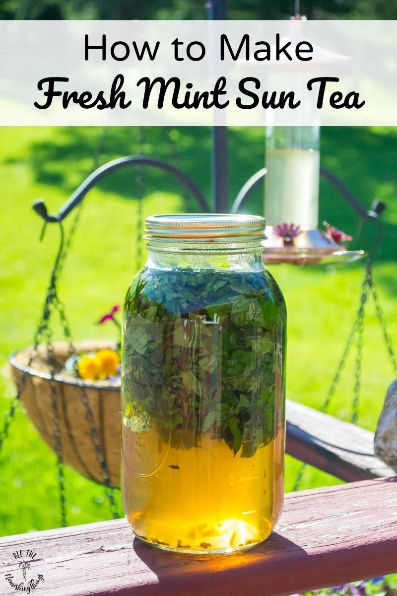 jar of fresh mint sun tea with text overlay