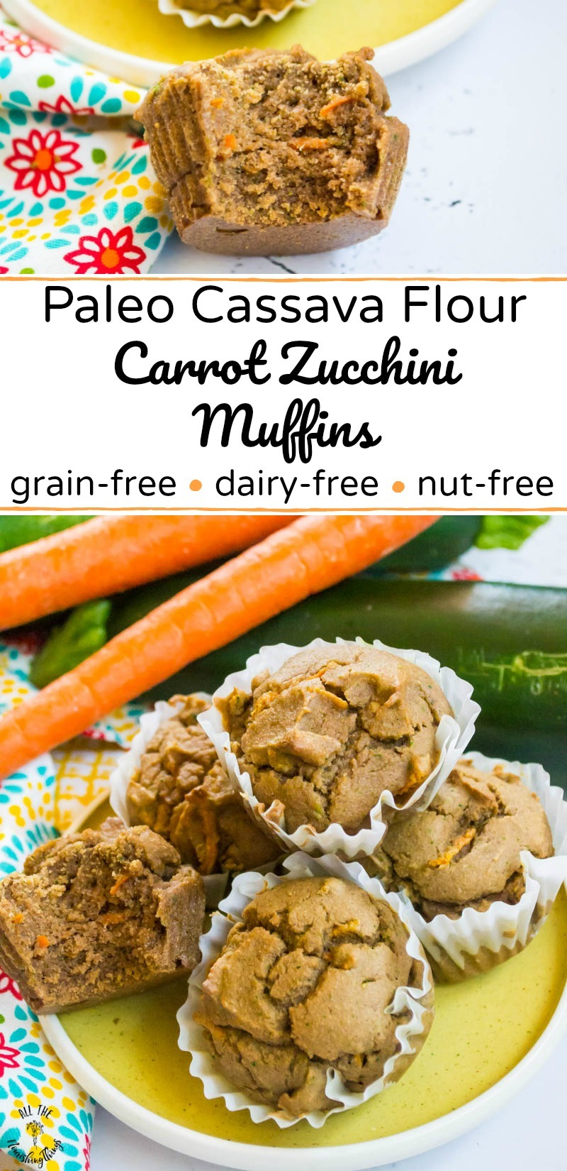 collage of photos of cassava flour paleo carrot zucchini muffins with text overlay between the images