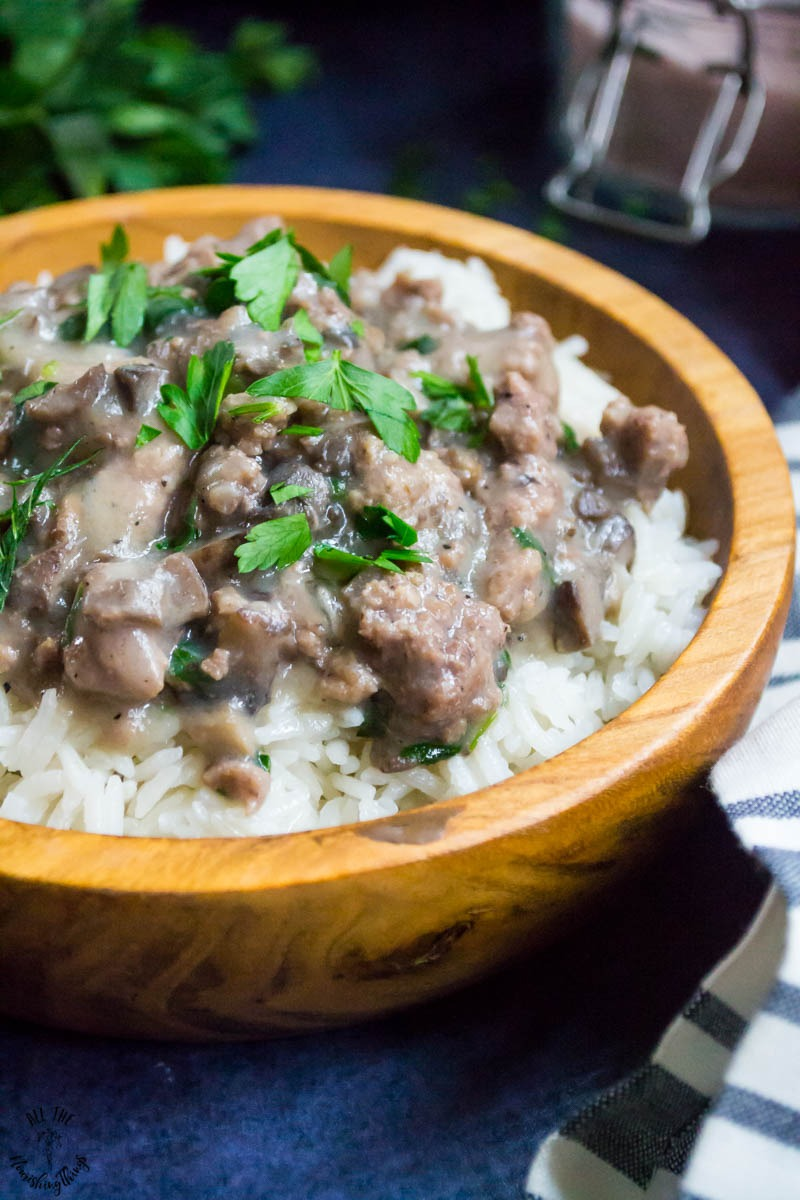 wooden bowl of keto instant pot beef stroganoff
