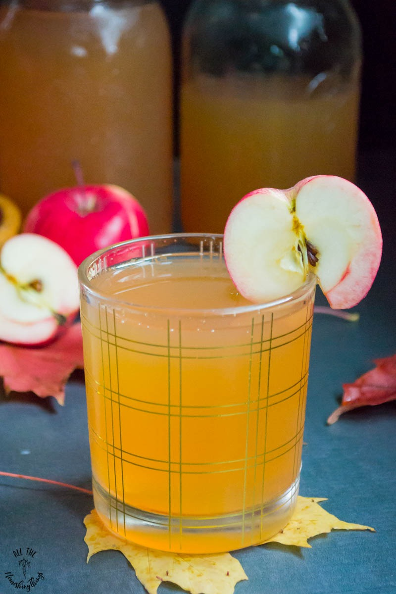glass of homemade fermented sparkling apple cider garnished with an apple slice