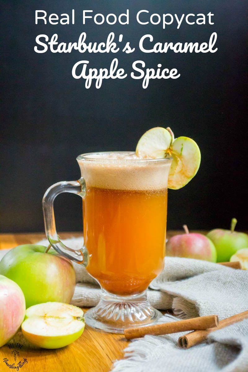 clear mug of real food copycat starbuck's caramel apple spice with text overlay