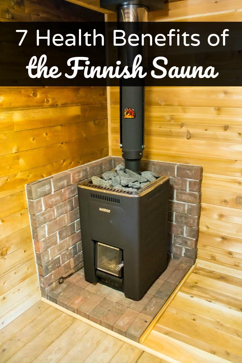 Harvia Finnish wood stove in a modern sauna in Minnesota