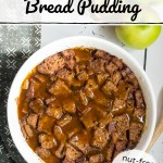 instant pot apple cider sourdough bread pudding with salted caramel apple drizzle