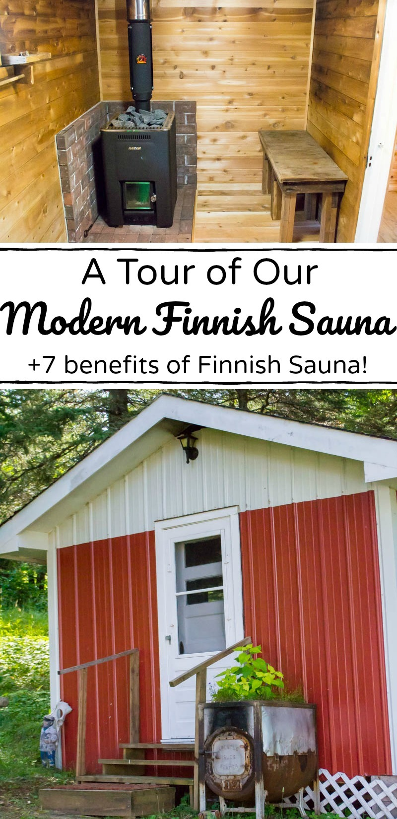 inside and outside photos of a modern Finnish sauna in Minnesota with text overlay