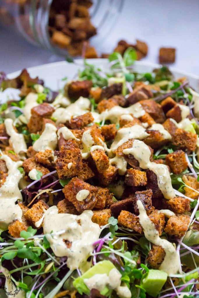 Gluten-Free Sourdough Croutons (vegan, nut-free, nourishing)