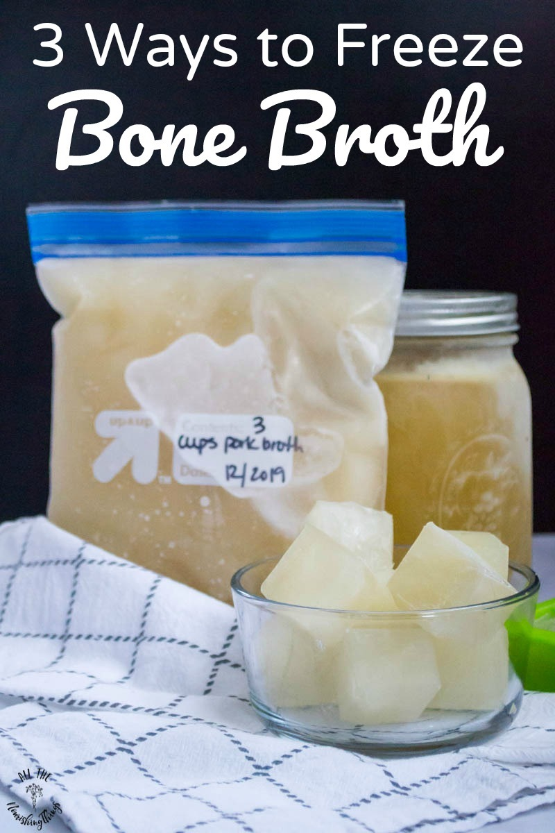 bone broth frozen 3 ways with text overlay